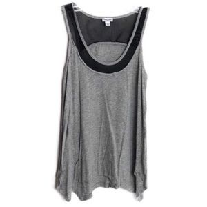 Splendid Gray Tank with Black Mesh Trim Small